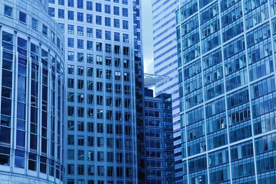 Arquitectura, Azul, La Construcción De, Negocio, Ciudad